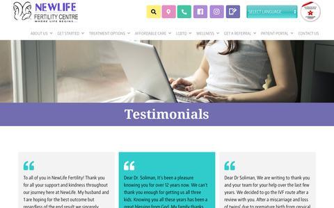Screenshot of Testimonials Page newlifefertility.com - (1) New Message! - captured Aug. 9, 2019