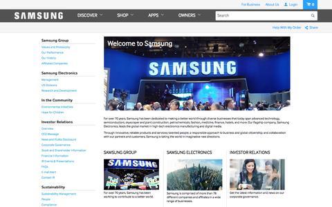 Screenshot of About Page samsung.com - SAMSUNG - captured Oct. 10, 2014