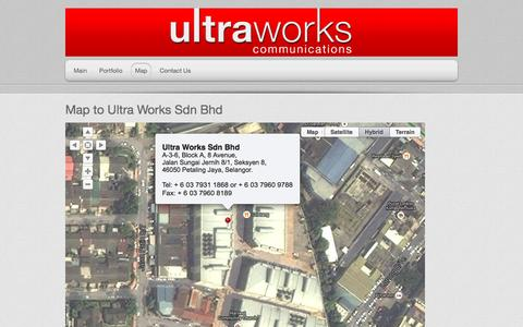 Screenshot of Maps & Directions Page ultraworks.biz - Map to UltraWorks Communications - captured Oct. 27, 2014