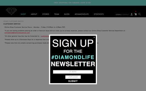 Screenshot of Support Page diamondsupplyco.com - Customer Service - captured Dec. 5, 2015