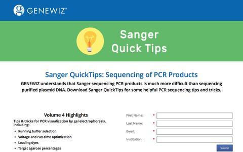 Screenshot of Landing Page genewiz.com - Sanger QuickTips - captured Oct. 29, 2016