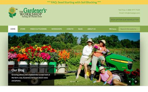 Screenshot of Home Page thegardenersworkshop.com - The Gardeners Workshop – turning all thumbs green - captured Feb. 25, 2016