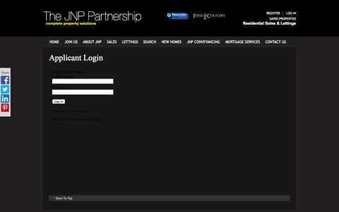 Screenshot of Login Page jnp.co.uk - Applicant Login | Estate Agents High Wycombe, South Buckinghamshire & The Chilterns | JNP - captured Oct. 4, 2014