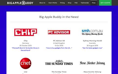 Screenshot of Press Page bigapplebuddy.com - Press | Big Apple Buddy - captured Jan. 3, 2016