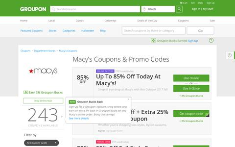 85% off Macy's Coupons, Promo Codes & Deals, October 2017 - Groupon