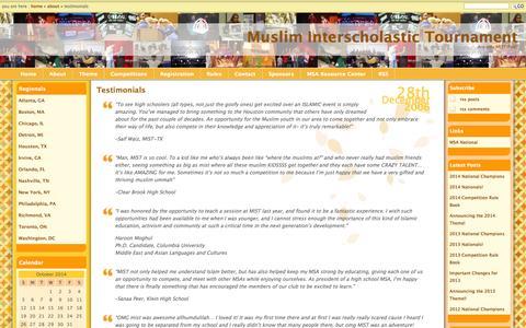 Screenshot of Testimonials Page getmistified.com - Testimonials » Muslim Interscholastic Tournament - captured Oct. 26, 2014