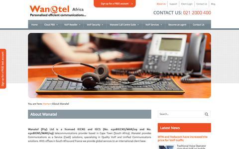 Screenshot of About Page wanatel.co.za - Wanatel South Africa - VoIP services, Hosted  | Wanatel - captured Oct. 7, 2014