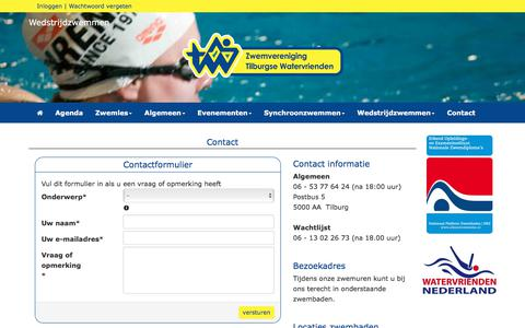Screenshot of Contact Page tilburgsewatervrienden.nl - Contact - Tilburgse Watervrienden - captured Nov. 13, 2017