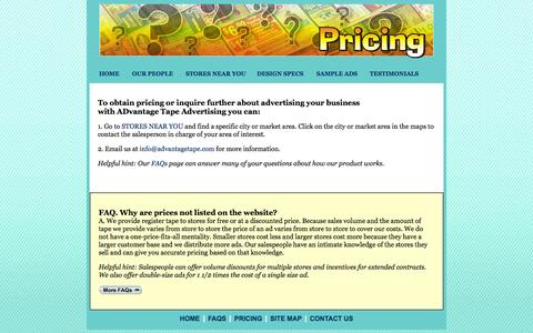 Screenshot of Pricing Page advantagetape.com - ADvantage Tape Advertising - Contact Information - captured Oct. 4, 2014