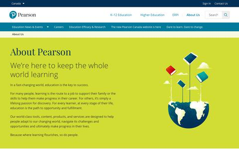 Screenshot of About Page pearson.com - About Us | Pearson in Canada - captured Sept. 23, 2018