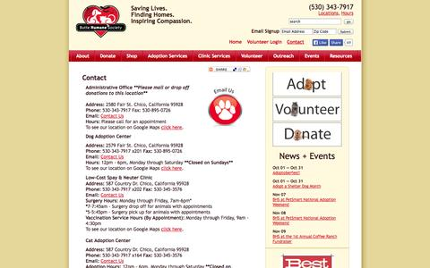 Screenshot of Contact Page Locations Page Hours Page buttehumane.org - Contact - captured Oct. 23, 2014