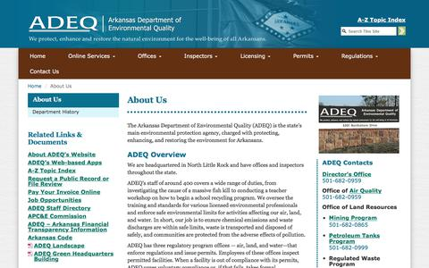 Screenshot of About Page state.ar.us - About Us | ADEQ - captured Feb. 20, 2018
