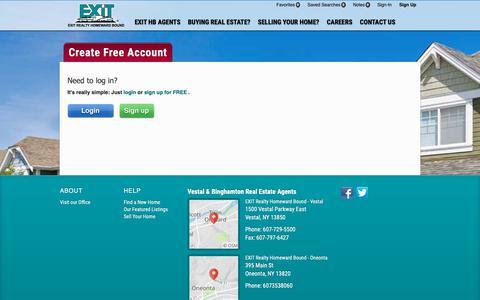 Screenshot of Signup Page Login Page exithb.com captured Nov. 9, 2018