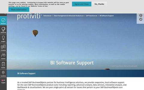 Screenshot of Support Page protiviti.com - BI Software Support | Protiviti - United Kingdom - captured Dec. 3, 2019