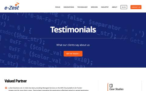 Screenshot of Testimonials Page e-zest.net - Client Testimonials about Software Development and Consulting Services - captured Feb. 2, 2016
