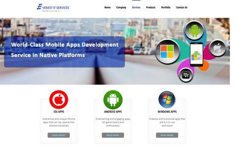 Screenshot of Services Page everestitservices.com - Mobile Application Development | Mobile App Development Company - captured Sept. 24, 2014