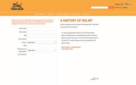 Screenshot of Testimonials Page tigerbalm.com - Tiger Balm - captured Dec. 24, 2016
