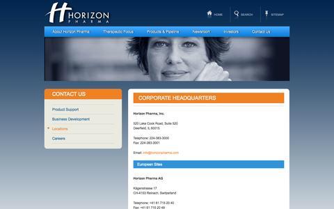 Screenshot of Locations Page horizonpharma.com - Corporate Headquarters - Horizon Pharma - captured Sept. 16, 2014