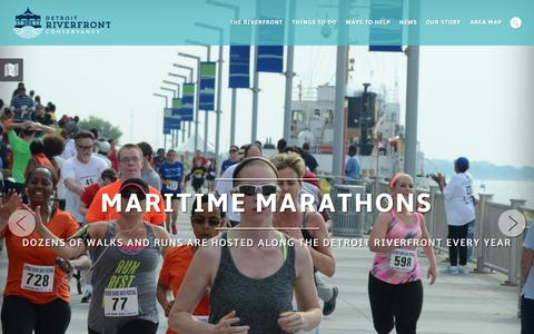Screenshot of Home Page detroitriverfront.org - Home | Detroit Riverfront Conservancy - captured Feb. 9, 2016