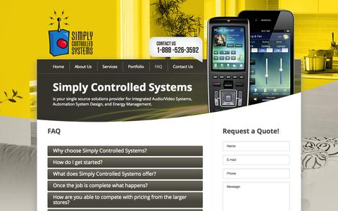 Screenshot of FAQ Page simplycontrolledsystems.com - FAQ - captured Oct. 26, 2014