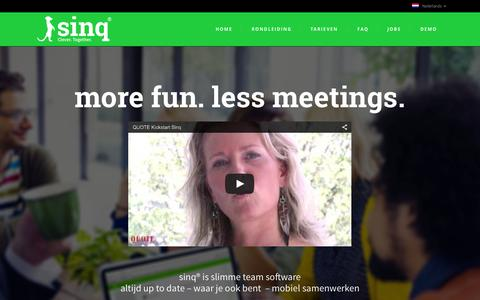 Screenshot of Home Page sinqapp.com - Sinq team communicatie | sinq is slimme teamsoftware - captured Aug. 31, 2015