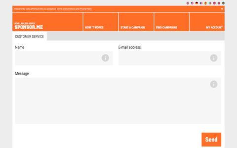 Screenshot of Support Page sponsor.me - Customer Service - SPONSOR.ME - captured July 9, 2018
