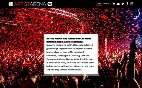Screenshot of Home Page artistarena.com - Artist Arena Official Website: The Global Expert for Direct-to-Fan Strategy and e-Commerce. - captured Dec. 9, 2018