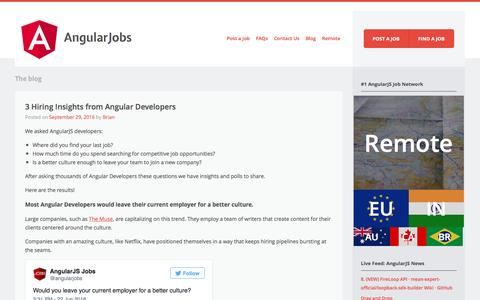 Screenshot of Blog angularjobs.com - Blog | AngularJobs | #1 in AngularJS Jobs. Top Resumes. Hiring Angular2 Developers. - captured Oct. 1, 2016