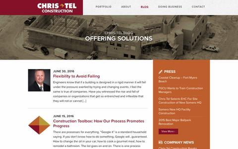 Screenshot of Blog christelconstruction.com - Blog | Chris-Tel Construction - captured July 13, 2016