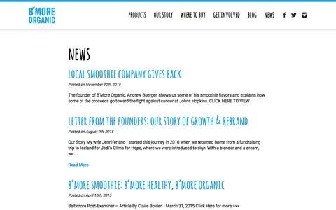 Screenshot of Press Page bmoreorganic.com - B'More Organic - News - captured Dec. 8, 2015
