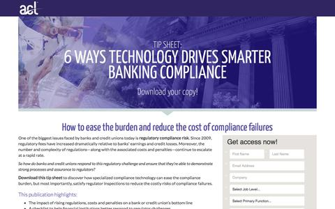 Screenshot of Landing Page acl.com - Download 6 Ways Technology Drives Smarter Banking Compliance - captured April 20, 2018
