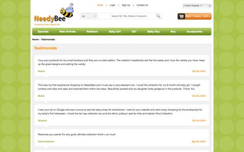 Screenshot of Testimonials Page needybee.com - Testimonials | NeedyBee | Review | Write | About Us | Comment - captured Oct. 7, 2014