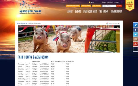 Screenshot of Hours Page mscoastcoliseum.com - South Mississippi Summer Fair Hours & Admission - captured July 26, 2018