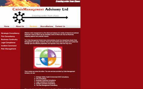 Screenshot of Services Page crisis-management-advisory.com - Services - Crisis Management Advisory - captured Oct. 27, 2014