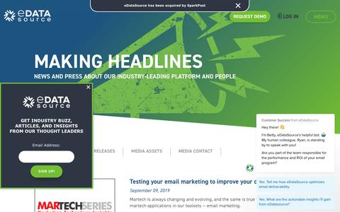 Screenshot of Press Page edatasource.com - Making Headlines - eDataSource - captured Nov. 21, 2019