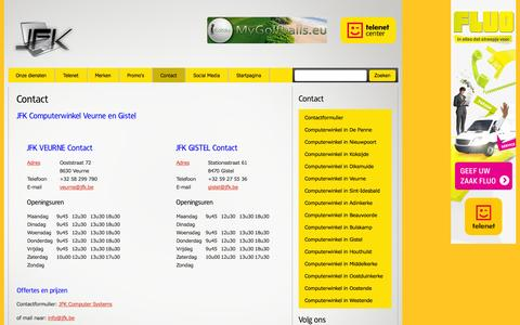 Screenshot of Contact Page jfk.be - Contact JFK Computersystems | JFK ComputerSystems - captured Oct. 4, 2014