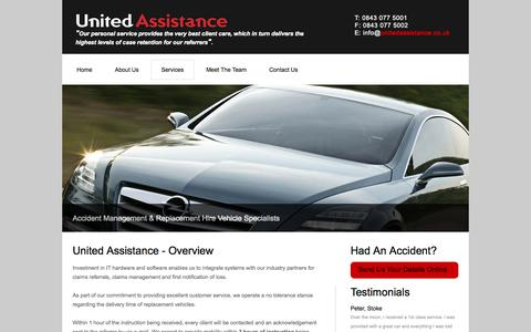 Screenshot of Services Page unitedassistance.co.uk - Accident Management | Car Replacement Hire Specialists - United Assistance - captured Oct. 9, 2014