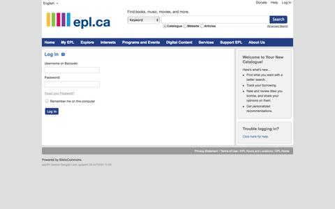 Screenshot of Login Page bibliocommons.com - Log In | Edmonton Public Library | BiblioCommons - captured Oct. 30, 2014