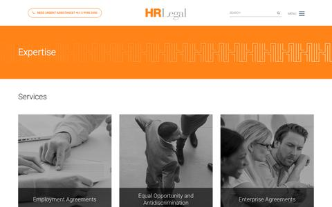 Screenshot of Services Page hrlegal.com.au - Expertise Archive | HR Legal - captured July 15, 2018