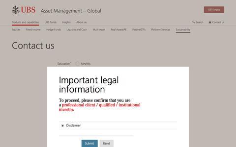 Screenshot of Contact Page ubs.com - Contact Us | UBS Global topics - captured Nov. 14, 2019