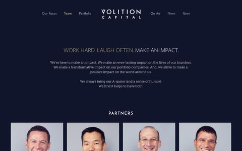 Screenshot of Team Page volitioncapital.com - Team - captured Sept. 20, 2019