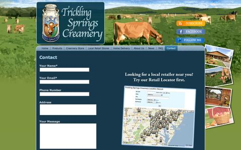 Screenshot of Contact Page tricklingspringscreamery.com - Trickling Springs Creamery: Contact - captured Sept. 26, 2014