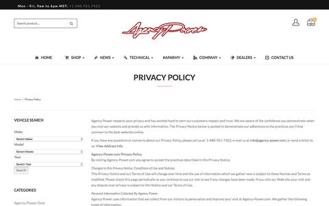Screenshot of Privacy Page agency-power.com - Privacy Policy - Agency Power - captured July 25, 2016