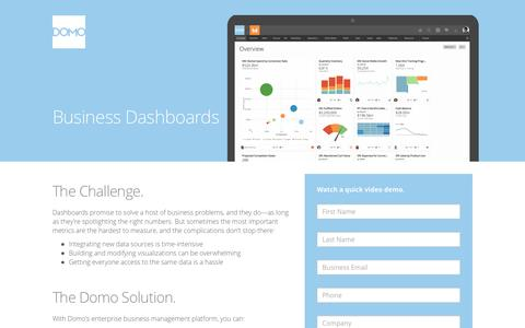 Screenshot of Landing Page domo.com - Business Dashboard - Domo's BI Dashboards Have the Data You Need | Domo - captured Feb. 17, 2016