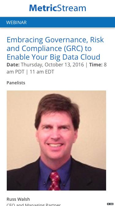 WEBINAR: Embracing Governance, Risk and Compliance (GRC) to enable your Big Data Cloud
