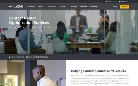 Screenshot of Services Page corvisa.com - Contact Center Optimization | Corvisa - captured Jan. 30, 2016