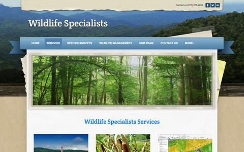 Screenshot of Services Page wildlife-specialists.com - services - Wildlife Specialists - captured Oct. 26, 2014