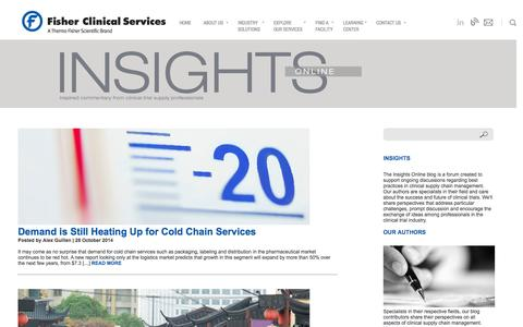 Screenshot of Blog fisherclinicalservices.com - Insights - Fisher Clinical Services - captured Oct. 29, 2014