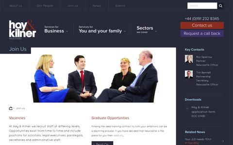 Screenshot of Signup Page hay-kilner.co.uk - Join us - Hay & Kilner Solicitors - lawyers in Newcastle upon Tyne - captured Sept. 29, 2014