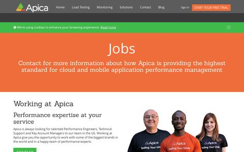Screenshot of Jobs Page apicasystem.com - Working at Apica - captured Sept. 13, 2014